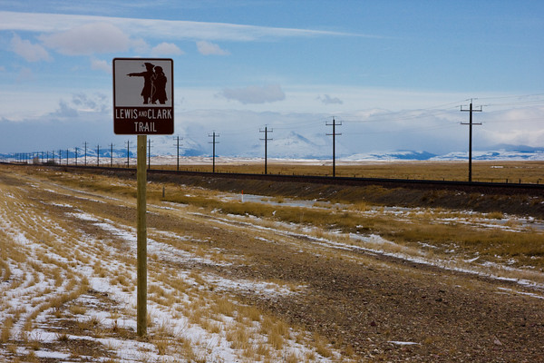 Sign for the Lewis & Clark Trail, Route 2, Northern Montana