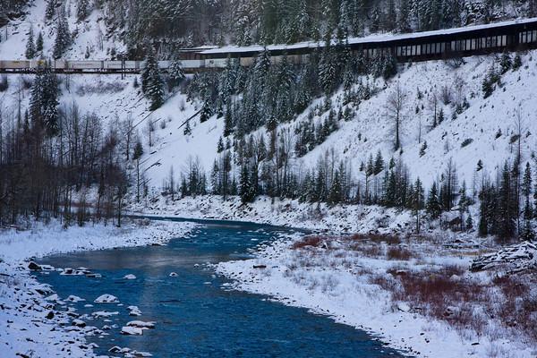 Railroad Train along the Whitefish River, Coram, Montana