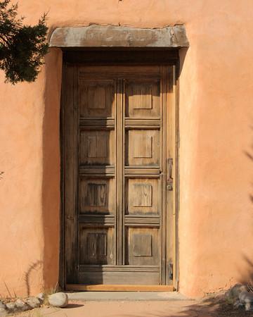 Old Wooden Door in a Restored Adobe Building Near Santa Fe, New