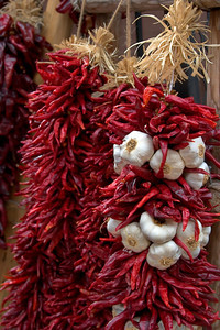 Hanging Chile Peppers and Garlic