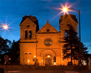 St. Frances Cathedral in Santa Fe, New Mexico at Dusk