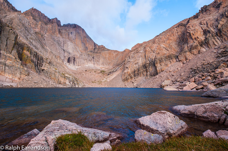 Chasm Lake with Long's Peak in the background in Rocky Mountain National Park.