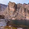 Tilted rock strata at Chasm Lake in Rocky Mountain National Park.