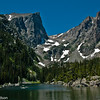 Hallett Peak as seen from Emerald Lake in Rocky Mountain National Park.