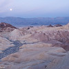 Setting moon just before dawn at Zabriskie Point.