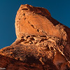 Sunset light on a pinnacle along the Petroglyph Canyon Trail in Valley of Fire.