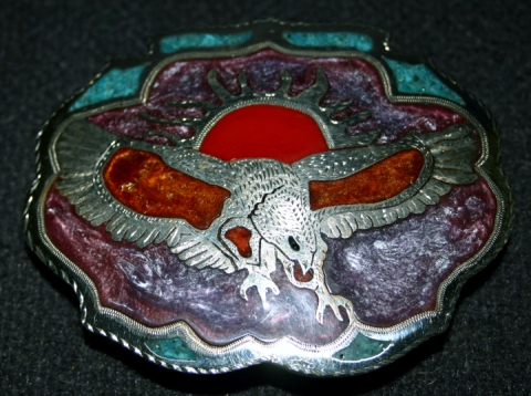 'German Silver' belt buckle with polymer resin inlaid into hand engraved Eagle Pattern.