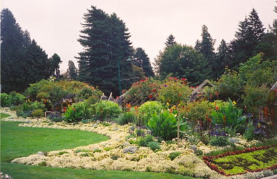 A garden in Stanley Park - there are trails throughout the park and the seawall is a popular place for walker, joggers and cyclists (2004).
