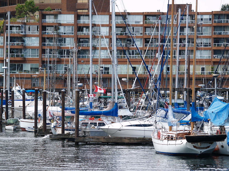 This marina is located right next to Bridges Restaurant on Granville Island. You can also rent kayaks to take out on False Creek for a short paddle during a visit (2006).