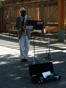 A jazz musician at Granville Island. Musicians of all kinds play at certain venues around the island.