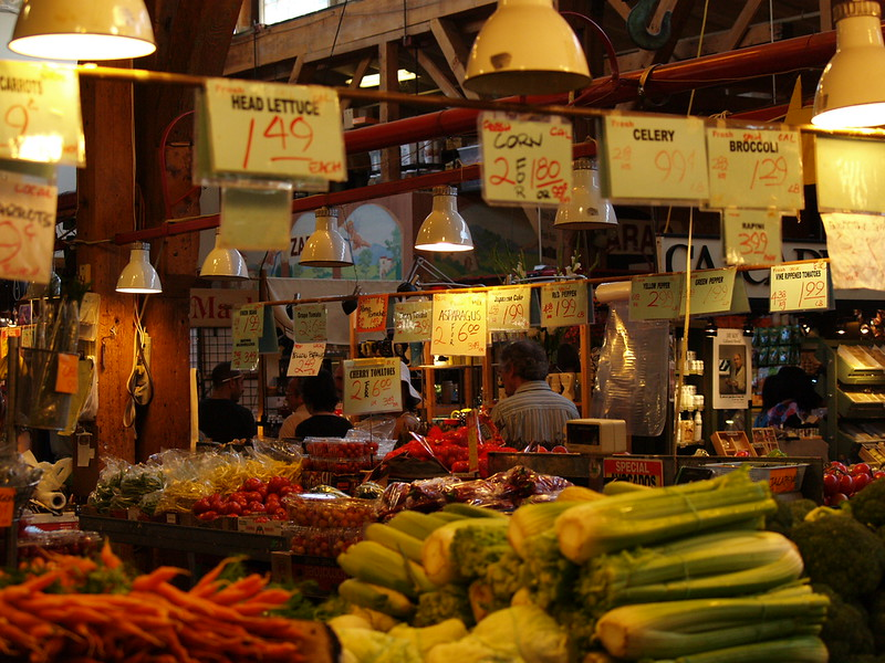 Vegetable and fruit stand inside Granville Island Public Market (2009).