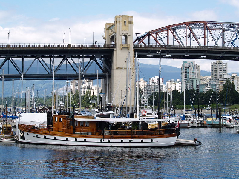 Another view of the marina next to Bridges Restaurant - this wooden ship has been docked every time I've visited. The Granville Street Bridge is in the background along with the skyline view of Vancouver, looking toward the West End (2006).