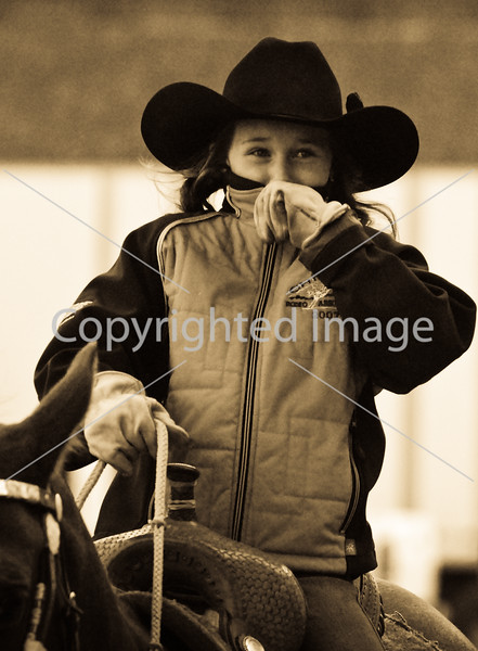 Our Granddaughter Kipty Terry warming up her horse, 2007 CRA Finals.
