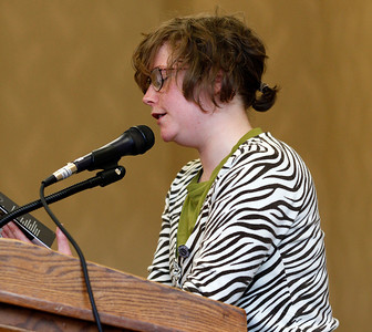 "Seek Constance reads her poems, ""Arms Too Short to Cross"" and ""South of Infinity"" during the publication celebration for the 11th annual edition of The Laureate at Western Michigan University on April 9, 2012.  (Bradley S. Pines / CONTACT: bspines@gmail.com)"