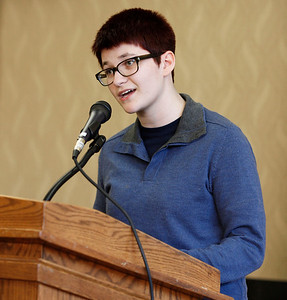 "Allie Pines reads her poems ""Technicolor"" and ""Recess at Midnight"" during the publication celebration for the 11th annual edition of The Laureate at Western Michigan University on April 9, 2012.  (Bradley S. Pines / CONTACT: bspines@gmail.com)"