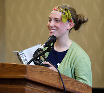 "Sarah Bertman reads her poem, ""Life Lines,"" during the publication celebration for the 11th annual edition of The Laureate at Western Michigan University on April 9, 2012.  (Bradley S. Pines / CONTACT: bspines@gmail.com)"