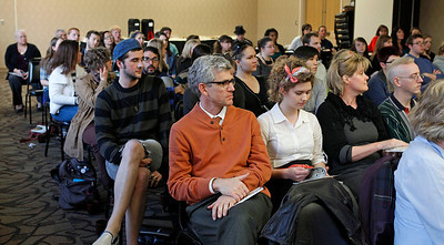 A large audience listens to contributors read their work during the publication celebration for the 11th annual edition of The Laureate at Western Michigan University on April 9, 2012.  (Bradley S. Pines / CONTACT: bspines@gmail.com)