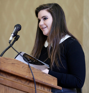 "Lauren Hoepner reads her poem, ""Qualia,"" during the publication celebration for the 11th annual edition of The Laureate at Western Michigan University on April 9, 2012.  (Bradley S. Pines / CONTACT: bspines@gmail.com)"