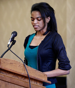 "Kendra Flournoy reads from her poem, ""On the Way to Oak Shadow Lane""  during the publication celebration for the 11th annual edition of The Laureate at Western Michigan University on April 9, 2012.  (Bradley S. Pines / CONTACT: bspines@gmail.com)"