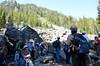 Ranger Jake talking to tour party below landslide