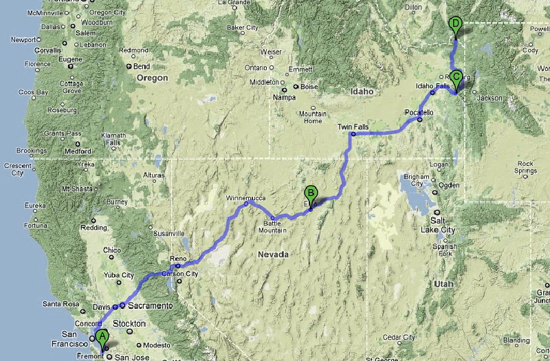Map: Palo Alto to Henry's Lake State Park