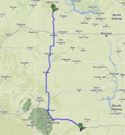 Map: Badlands to Theodore Roosevelt, North Unit