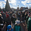 A crowd gathers on the town green for the Westfield 350 cake lighting ceremony.