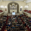 Attendees fill Westfield's First Congregational Church Wednesday night for a talk sponsored  by Westfield 350.