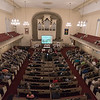 The audience gathers for Wednesday night's Westfield 350 talk at First Congregational Church.