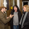 Speaker Dr. Aaron Reyes chats with Beth Lee and Lorraine Boldini before Wednesday's talk at Westfield State University.