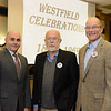 Westfield State University President Ramon S. Torrecilha, Dr. Robert Brown, and Westfield 350 p;resident Harry Rock at Wednesday's speaker event.