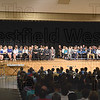 Dollars for Scholars donors fill the stage Wednesday evening at Westfield Middle School for the annual scholarship awards night.