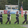 The Westfield Fire Department Color Guard enters Bullens Field to present the flag for the national anthem.
