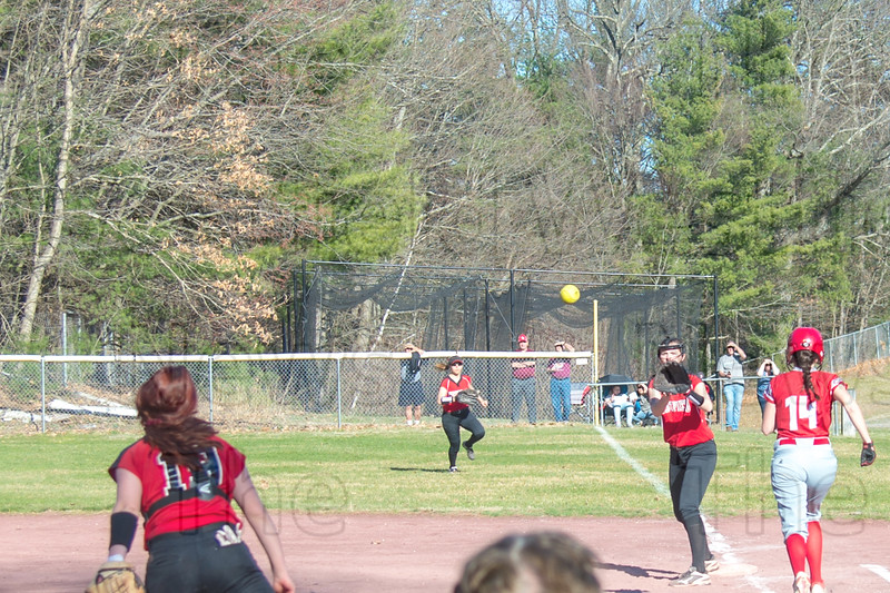 Catcher Morgan Zabielski to first baseman Madison Robitaille for the ground ball out
