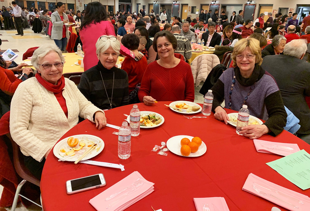 . Enjoying the buffet are, from left, Judy Chu, Nancy Keelan, Norma Zagars and Sandy Martinez, all of Westford