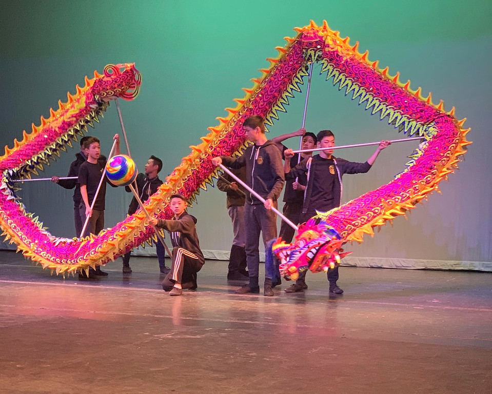 . The Chinese Folk Art Workshop, Inc., of Boston practices before performance.