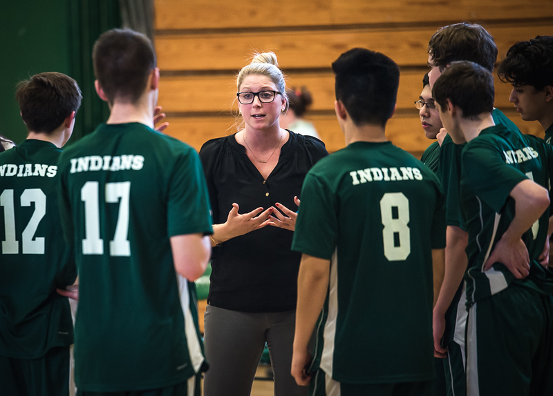 . Billerica\'s Head Coach, Brittney McGinness, strategizes with the boys varsity volleyball team in the last of three games.   Westford won the competition, game 1, 25-4, game 2, 25-11, and game 3, 25-23. Photo:  SUN/Scot Langdon