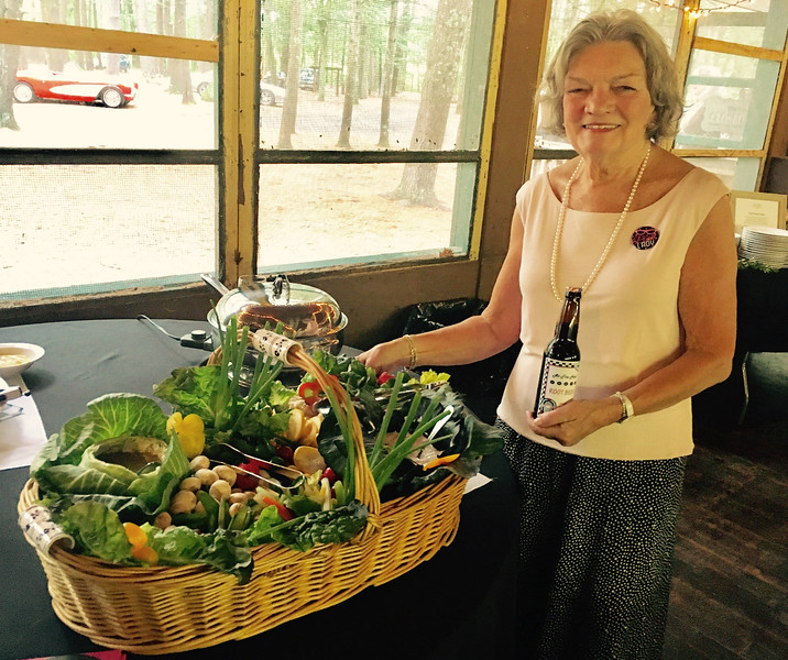 Board member Leslie Thomas of Westford and her display of appetizers