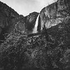 black and white mountain and water fall