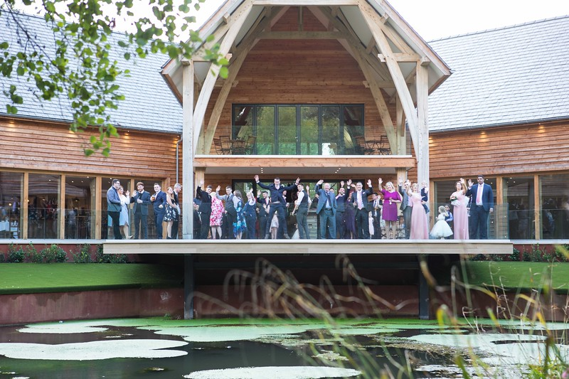 All the wedding guests at The Mill Barn, Alveley.