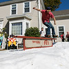 The Westminster Cracker Festival was held on Saturday, Oct. 19, 2019 in Westminster. This group of employees from Wachusett Mountain got some snow from a local Ice Rink and mad a small snowboard run in the front yard of tom Norton the Mountain's ski school director during the festival. Jake Chiras showed off his snowboard skills on the run. SENTINEL & ENTERPRISE/JOHN LOVE