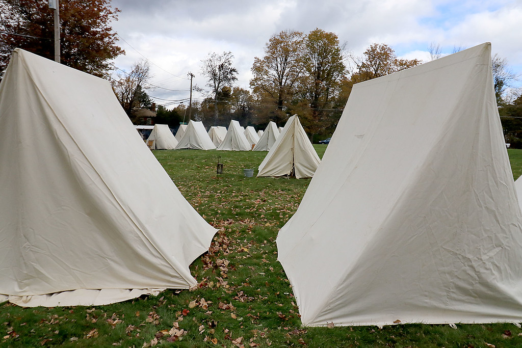 . The annual Cracker Festival was held in Westminster on Saturday, October 20, 2018. The 15th MA Volunteer Infantry\'s camp on the town common that was set up during the festival. SENTINEL & ENTERPRISE/JOHN LOVE