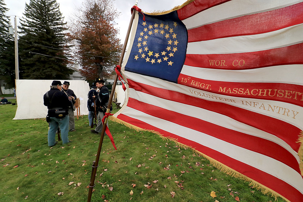 . The annual Cracker Festival was held in Westminster on Saturday, October 20, 2018. This flag flew at the 15th MA Volunteer Infantry\'s camp on the town common at their reenactment during the festival. SENTINEL & ENTERPRISE/JOHN LOVE