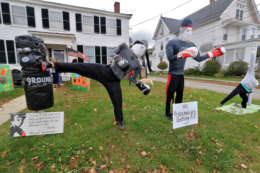 . The annual Cracker Festival was held in Westminster on Saturday, October 20, 2018. This front lawn of the Westminster Historical Society had some kickboxing scarecrows from 9-Rounds. SENTINEL & ENTERPRISE/JOHN LOVE