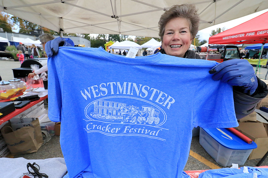 . The annual Cracker Festival was held in Westminster on Saturday, October 20, 2018. Cindie Hastings-Brutvan, who works in the town clerks office, was helping sell t-shirts for the festival. SENTINEL & ENTERPRISE/JOHN LOVE