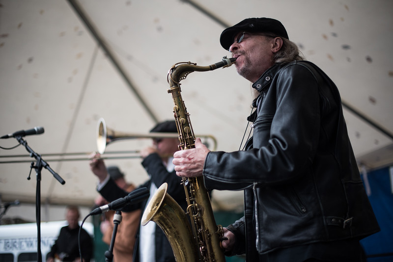 Clutch Grabwell sax player, John Vanderpool, plays with the band on Saturday during the Cracker Festival in Westminster.  Sentinel & Enterprise photo/Jeff Porter