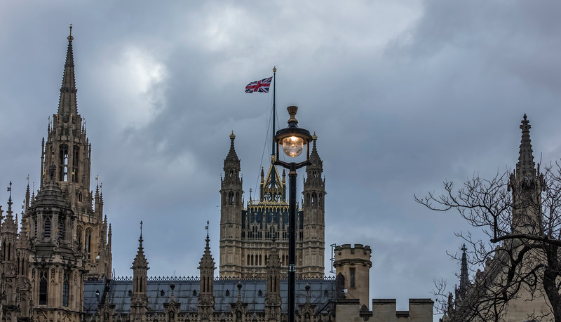 Houses of Parliament with Union Flag flying in London