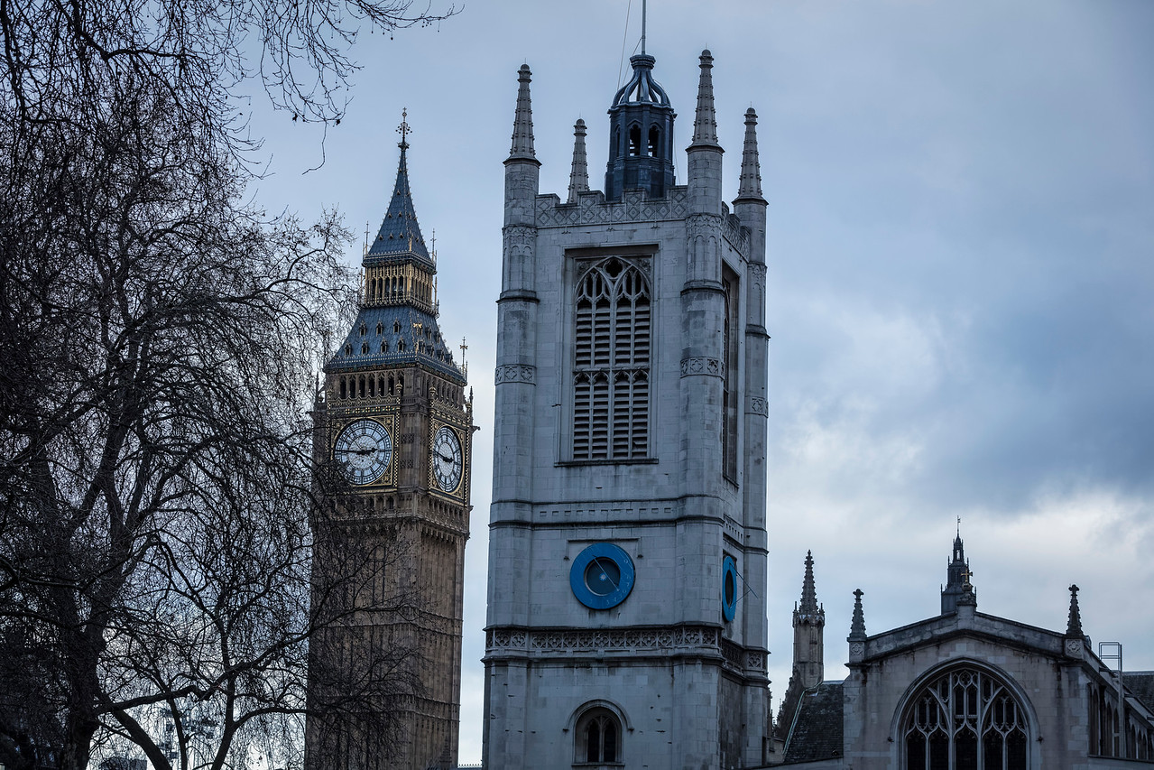 Big Ben and St Margaret's Church in Westminster, London