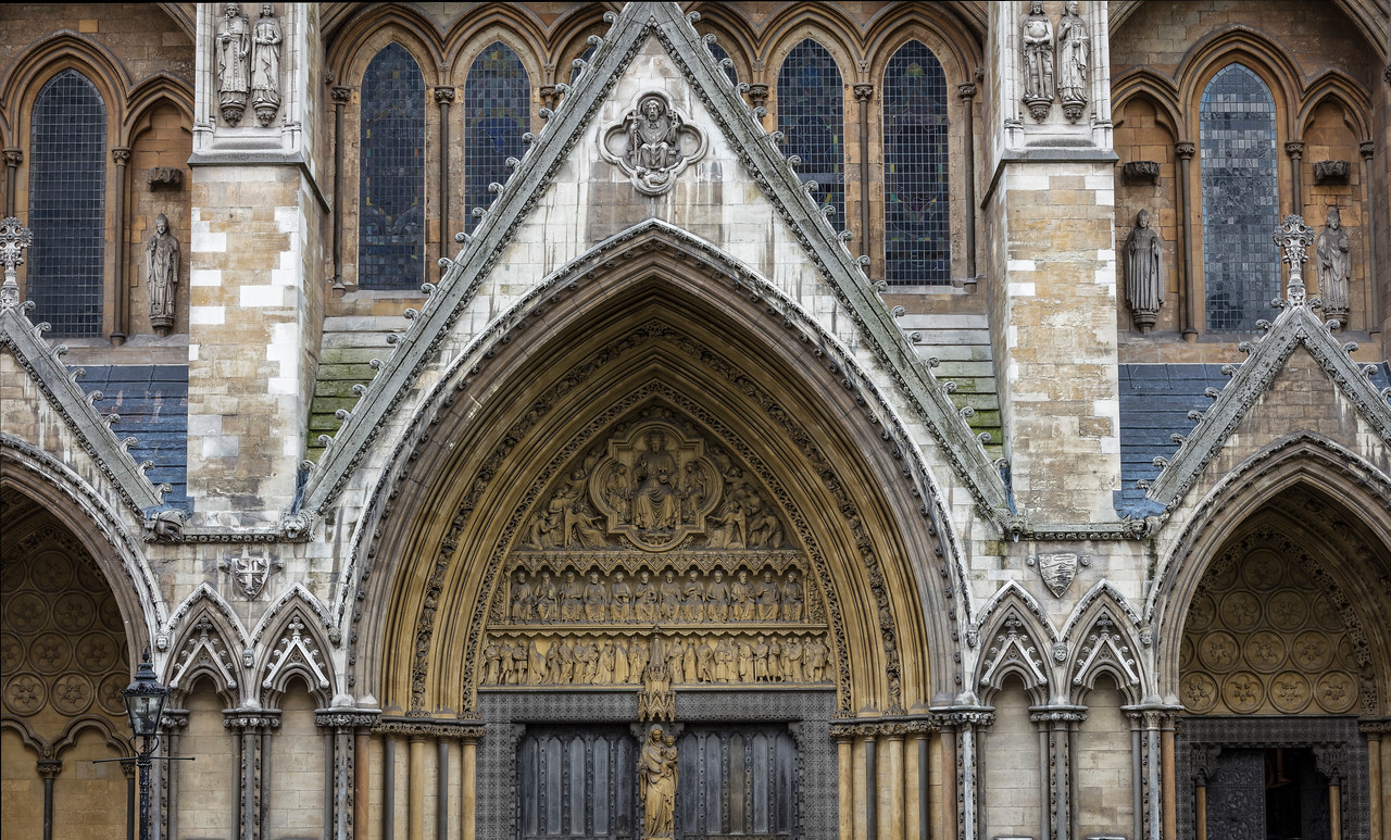 Main entrance to Westminster Abbey in London