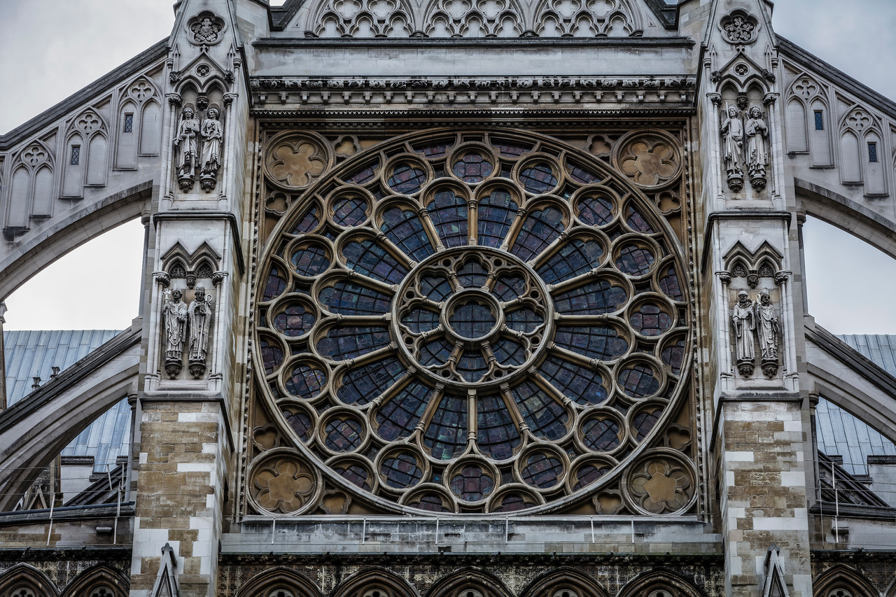 Round Window Rose at Westminster Abbey in London